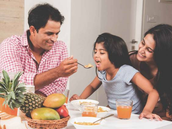 An attractive happy, smiling Indian family
