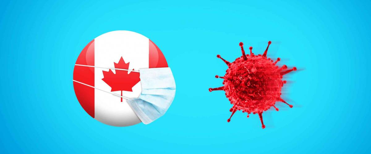 Coronavirus / Corona virus attack concept. Canada put mask to fight against Corona virus. Concept of fight against virus. Coronavirus outbreak on Canada influenza background.