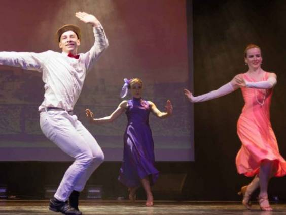 Dancer Actors perform on the theater stage in a dance show musical