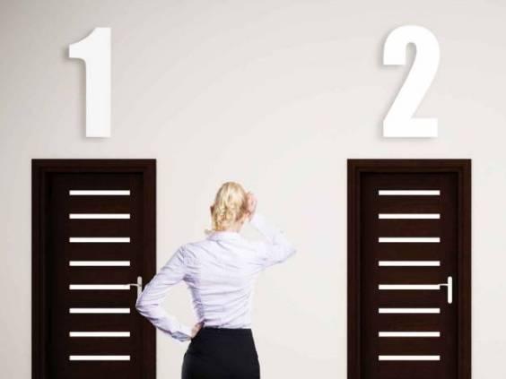 businesswoman has to choose between 3 options