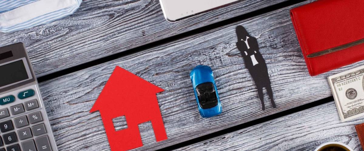 Calculator, models of house and car. Investment in material well-being.