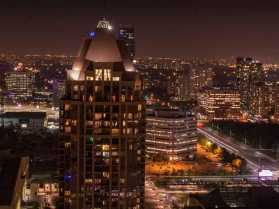 Mississauga brampton peel region city night panorama skyline in Toronto Ontario Canada