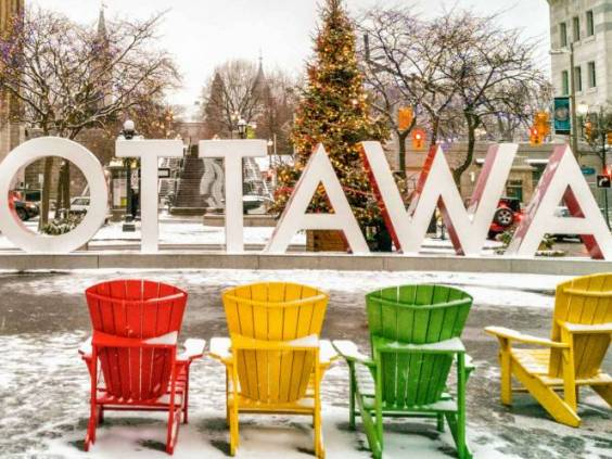 Ottawa in winter christmas tree decoration in city. Urban landscape Canada travel. Mobile picture shot on Huawei mate pro 20 phone.