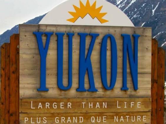 Yukon Territories Road Sign - along highway entering the Yukon from Alaska
