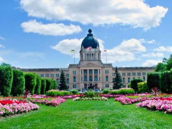A beautiful flowerbed in front of Legislature building, Regina, Saskatchewan