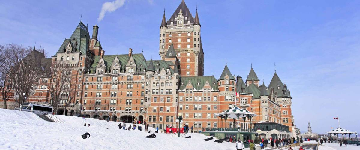 Chateau Frontenac, Quebec City in winter, traditional slide descent, Canada