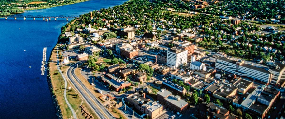 Aerial of Fredericton, New Brunswick, Canada