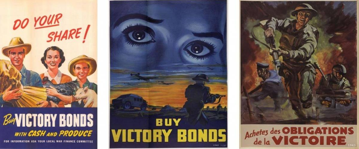 Victory Bond advertisements from past decades