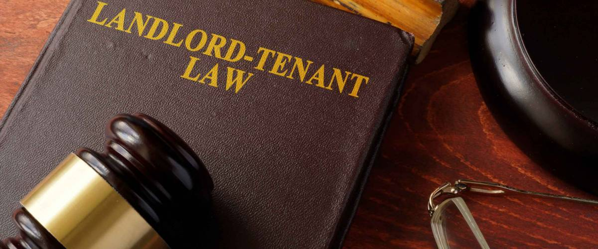 Book with title Landlord-Tenant Law and a gavel.