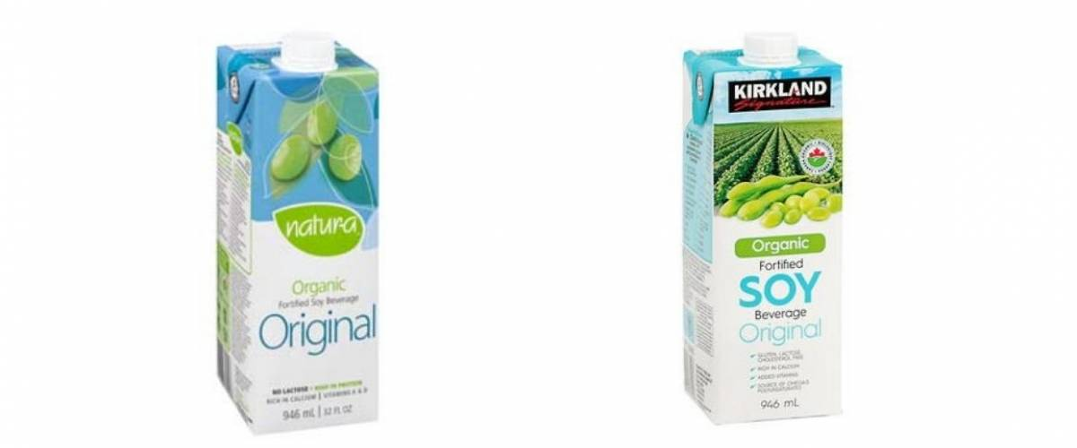 Natur-a soy and Kirkland Signature soy