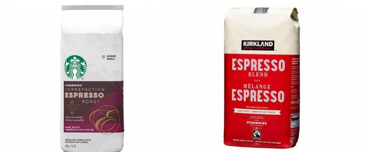 Starbucks espresso and Kirkland Signature espresso