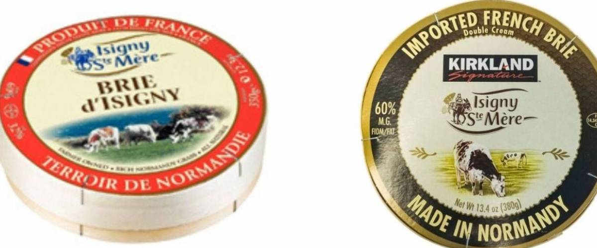 Isigny Ste Mere brie and Kirkland Signature brie