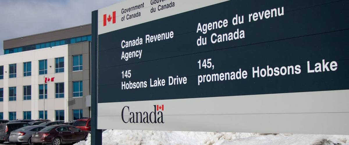 Sign for the Canada Revenue Agency, outside of their office