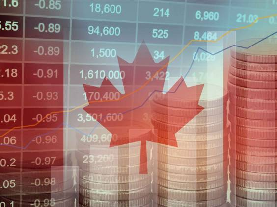 Stock market investment trading financial, coin and Canada flag or Forex for analyze profit finance business trend data background.