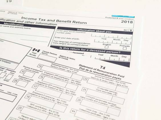 Canadian T1 and T4 tax forms