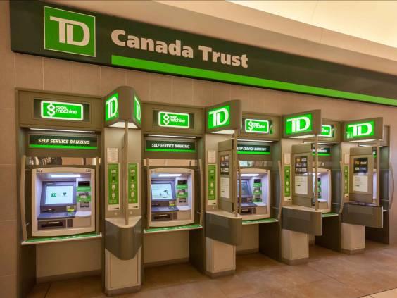 Toronto, Canada - February 12, 2018: TD Canada Trust ATM in the Toronto Mall.