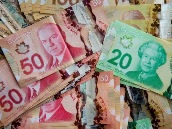 Canadian currency representing income.