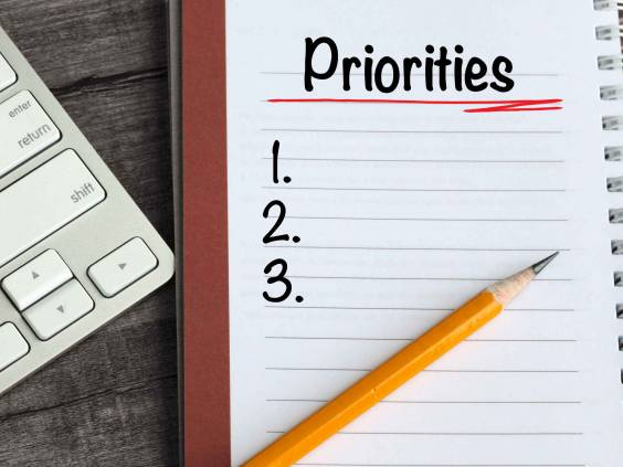 set priorities note, with desk background