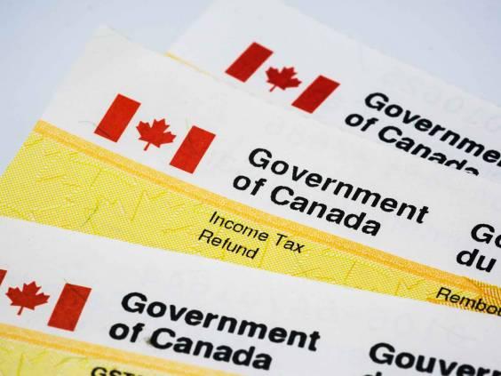 Government of Canada income tax refund checks.