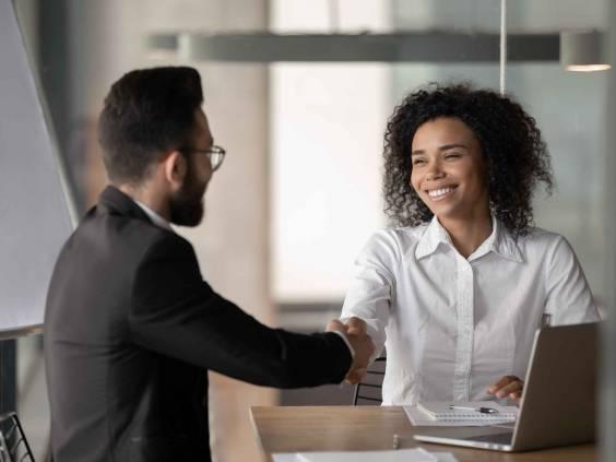 Woman at job interview.