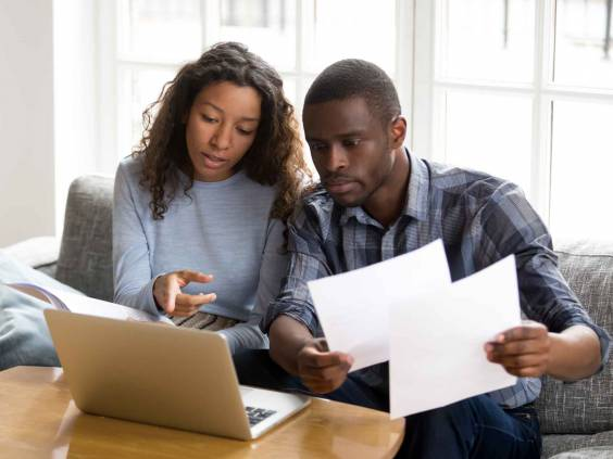 Couple going over finances.