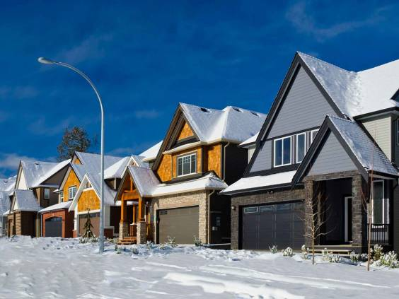 Winter time in great neighborhood. A homes in suburbs of the north America. Vancouver.