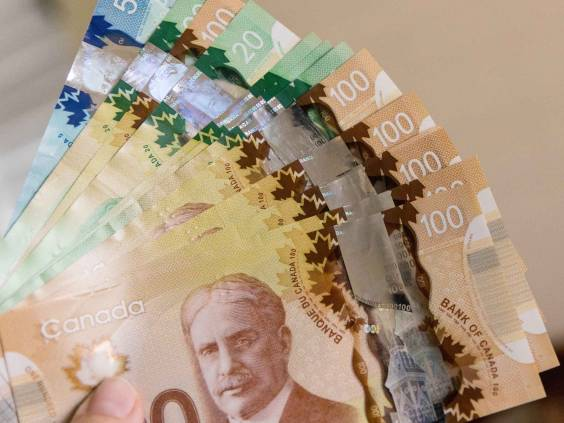 Canadian Dollars, concept of business and finance. Canadian banknotes of different values in hand.