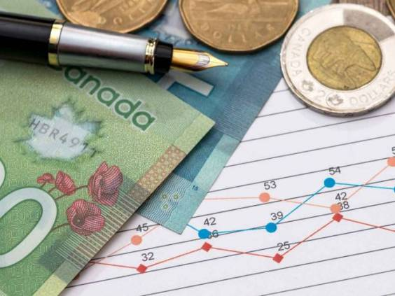 Canadian dollar with business diagram pen and calcualtor