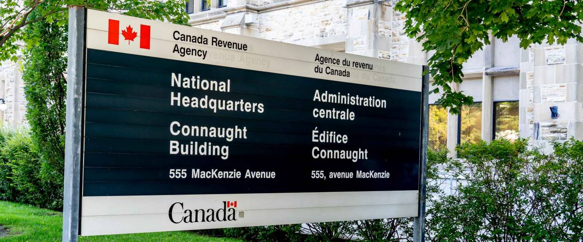 Ottawa, Ontario, Canada - August 8, 2020: Canada Revenue Agency's National Headquarters in Ottawa on August 8, 2020.