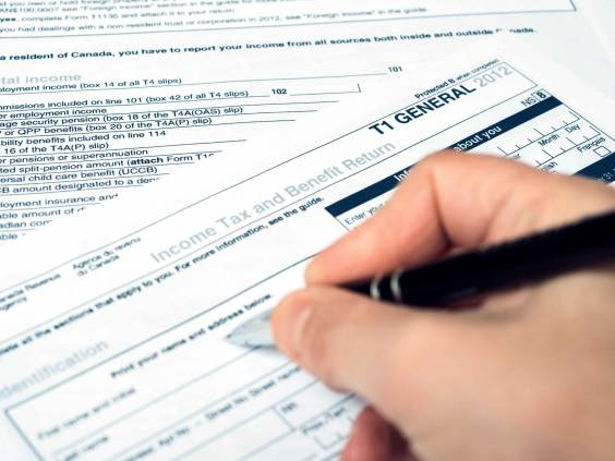 Filling out a Canadian T1 tax form
