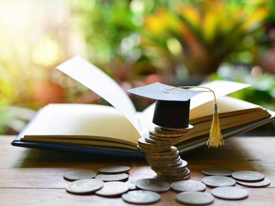 Book, student cap and coins