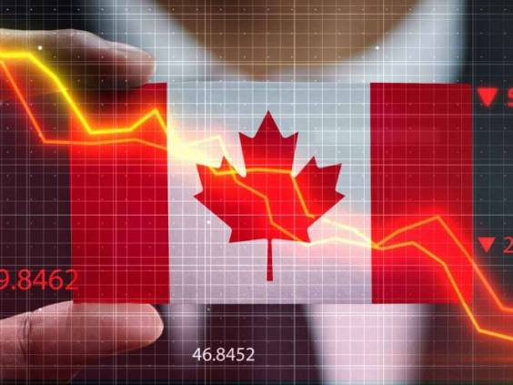 Graph Falling Down in Front Of Canada Flag. Crisis Concept