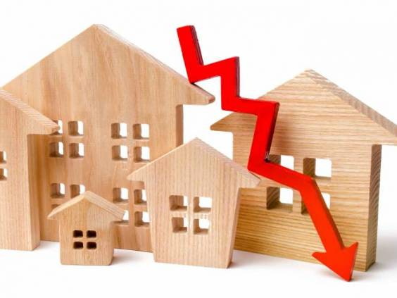 a decline in property prices.