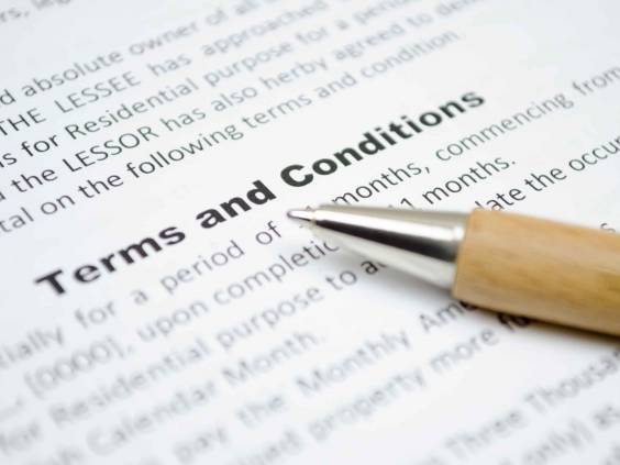 Terms and conditions in an agreement.
