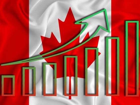 canada flag with a graph of price increases for the country's currency. Rising prices for shares of companies and cryptocurrencies. Economic recovery concept. 3D rendering