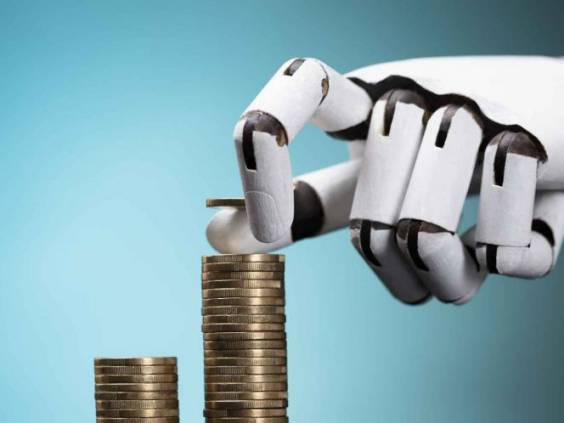 Close-up Of A Robot's Hand Stacking Golden Coins On Turquoise Background