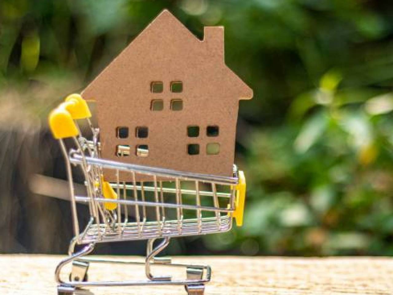 Yellow shopping cart and small wooden toy house on natural green blur background.