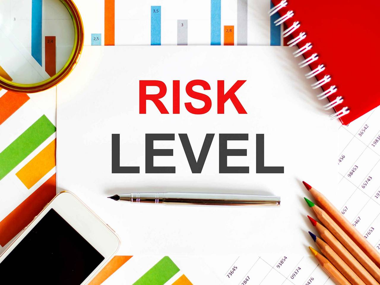 Text RISK LEVEL on notepad with office tools, pen on financial report