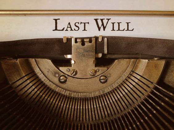 The words Last Will typed typewriter.
