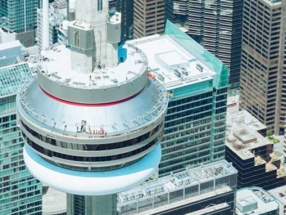 Top view of Toronto CN Tower and condo buildings