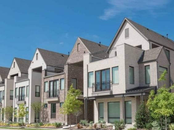 Brand new row of three story single family houses