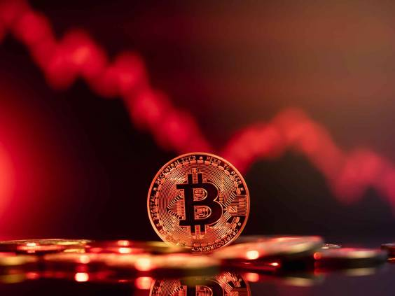 Bitcoin price crash in front of a red abstract virtual background