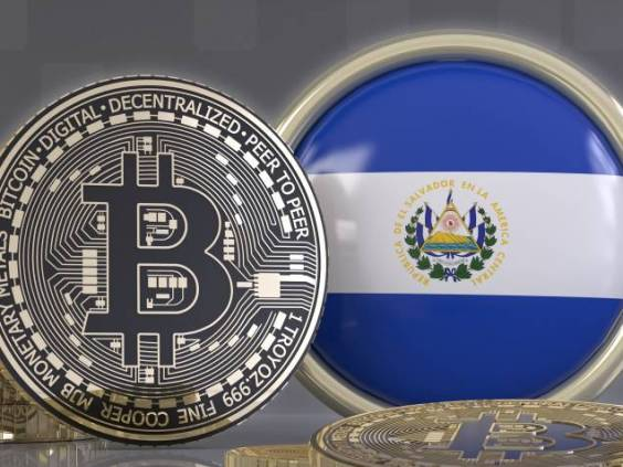 3d rendering of some metallic Bitcoins in front of an badge with the Salvadoran flag