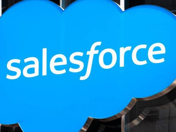 Close up of Salesforce logo displayed on one of their towers in downtown San Francisco