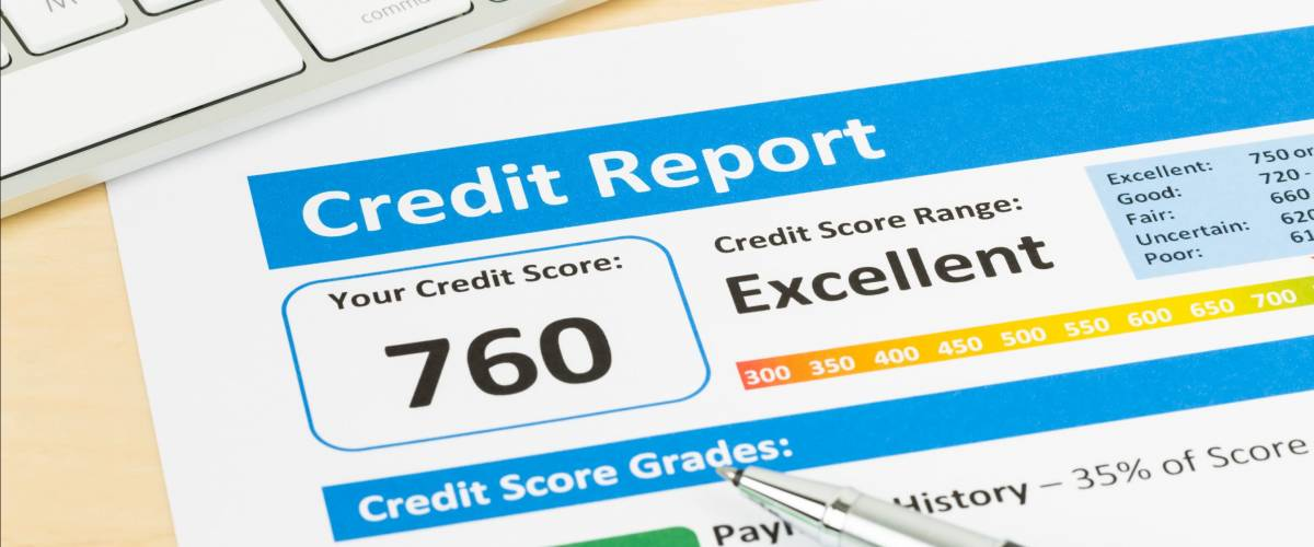 Credit score report with keyboard