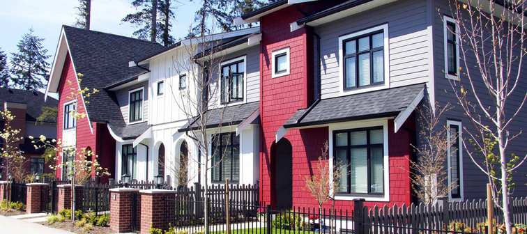 Brand new upscale townhomes in a Canadian neighbourhood.