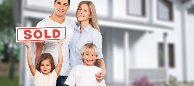Happy Family with for sale sign